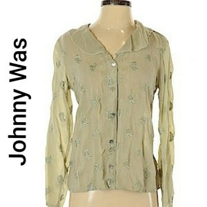 Johnny was embroidered floral long sleeve shirt